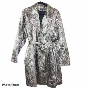 Via Spiga Snakeskin print trench coat tie waist